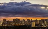 picture of waikiki  - The lights of Waikiki and Honolulu at dusk on the island of Oahu Hawaii