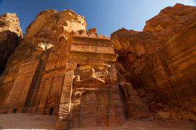 stock photo of camel-cart  - Facade of a beautiful building in the archaeological site of Petra Jordan - JPG