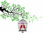 stock photo of caged  - Vector illustration of Tree silhouette with bird cartoon in a cage - JPG