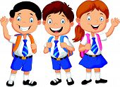 stock photo of waving hands  - Vector illustration of Happy school kids cartoon waving hand - JPG