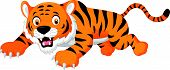 foto of jumping  - Vector illustration of Cartoon tiger jumping isolated on white background - JPG