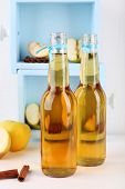 foto of cider apples  - Still life with tasty apple cider and fresh apples - JPG