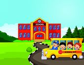 stock photo of school building  - Vector illustration of Cartoon a school bus and kids in front of school - JPG