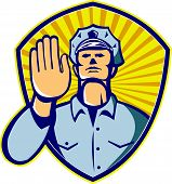 picture of policeman  - Illustration of a policeman police law enforcement officer with hands signalling stop set inside shield done in retro style - JPG