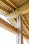 picture of rafters  - Interior view of a wooden roof structure rafters and trusses