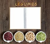 foto of legume  - Variety or legumes the word of Legumes and notebook - JPG