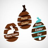 stock photo of white rabbit  - Easter egg ribbons set with rabbit silhouettes - JPG