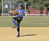 image of little-league  - Young little league base pitcher winding up to throw the ball from the pitcher - JPG