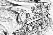 foto of headlight  - Sketch of classic vintage car headlights bumper grill - JPG