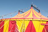 picture of circus tent  - Circus festival tent in yellow and red - JPG