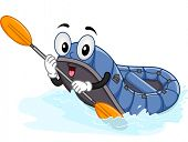image of raft  - Mascot Illustration of a Water Raft Using a Paddle - JPG