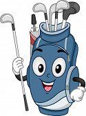 pic of golf bag  - Mascot Illustration of a Golf Bag Carrying Golf Clubs - JPG