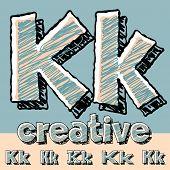 stock photo of letter k  - Funny sketch alphabet - JPG