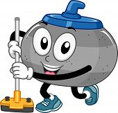 pic of broom  - Mascot Illustration of a Curling Stone Holding a Curling Broom - JPG