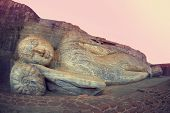 foto of vihara  - Sleeping Buddha statue in Polonnaruwa - JPG