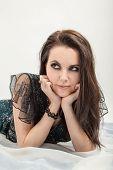 stock photo of thinker  - female dreams of fun pretty woman thinker - JPG