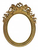 stock photo of oval  - Oval Picture Frame with Ribbon Crown isolated on white - JPG
