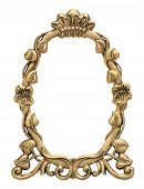 pic of oval  - Gold oval picture frame with flowers and crown isolated on white - JPG