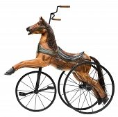 picture of tricycle  - Wood Horse Tricycle Bike Isolated on White - JPG
