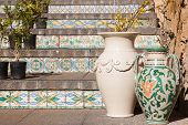 picture of staircases  - View of a colored ceramic vase from Caltagirone in its famous staircase - JPG