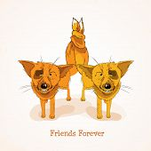 stock photo of  friends forever  - Happy Friendship Day background with cute funny foxes and colorful text Friends Forever - JPG