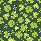 picture of shamrock  - Pattern with shiny shamrock leaves for St - JPG