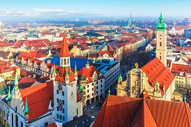 stock photo of bavaria  - Scenic aerial panorama of the Old Town architecture of Munich - JPG