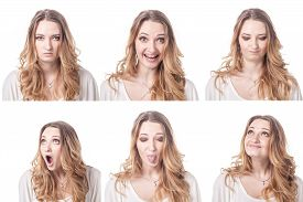 stock photo of emoticon  - Collage of woman different facial expressions emotions and emoticons - JPG