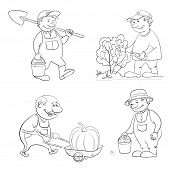 foto of trolley  - Cartoon gardeners work - JPG