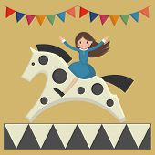 stock photo of merry-go-round  - Happy girl sitting on horse in merry - JPG