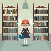 picture of schoolgirls  - Soviet cartoon schoolgirl in library - JPG