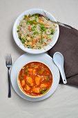 picture of curry chicken  - Fried rice with chicken curry ready to eat - JPG