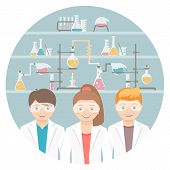 Kids In Chemistry Class Flat Education Concept poster