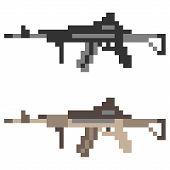 pic of assault-rifle  - illustration vector isolate icon pixel art gun assault rifle - JPG