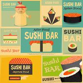 foto of sushi  - Sushi Mini Posters Collection in Flat Design Style - JPG