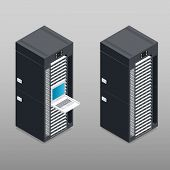 stock photo of racks  - Server tower rack detailed isometric icon vector graphic illustration - JPG