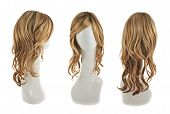 picture of foreshortening  - Wavy hair wig over the white plastic mannequin head isolated over the white background - JPG