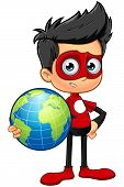 foto of superhero  - A cartoon illustration of a Superhero Boy character dressed in a red superhero costume - JPG