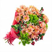 stock photo of carnation  - Bouquet of gerbera carnations and other flowers isolated on white background - JPG