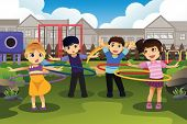 image of hula hoop  - A vector illustration of happy children playing hula hoop in the park - JPG