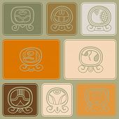 picture of glyphs  - Seamless background with Maya calendar named days and associated glyphs for your design - JPG