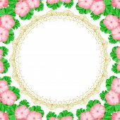 stock photo of geranium  - Vintage frame with geraniums and lace frame - JPG
