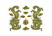stock photo of debonair  - The gold dragon on wood at shrine Juytuy Phuket Thailand - JPG
