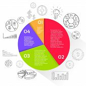 stock photo of pie-chart  - Finance Pie Diagram Circle Infographic with Financial Business Hand Draw sketch Graph Chart Set Vector Illustration - JPG