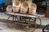foto of karnataka  - Bamboo basket on the street market - JPG
