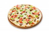 stock photo of leek  - Delicious seafood pizza with tuna fish tomatoes and leek  - JPG