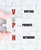picture of vpn  - Hand of a business man completing the puzzle with the last missing piece - JPG