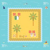 picture of sunbather  - Summer Island with people swimming and surfing and sunbathing and playing sand in retro vintage map style - JPG