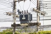 picture of substation  - Electric transformer substation at Hospital North Thailand - JPG