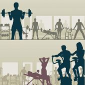 picture of gym workout  - Two editable vector silhouettes of people exercising in a gym - JPG